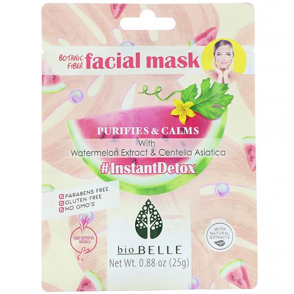 Biobelle, Masque pour le visage en fibre végétale, Purifie et calme, #InstantDetox, 1masque, 25g