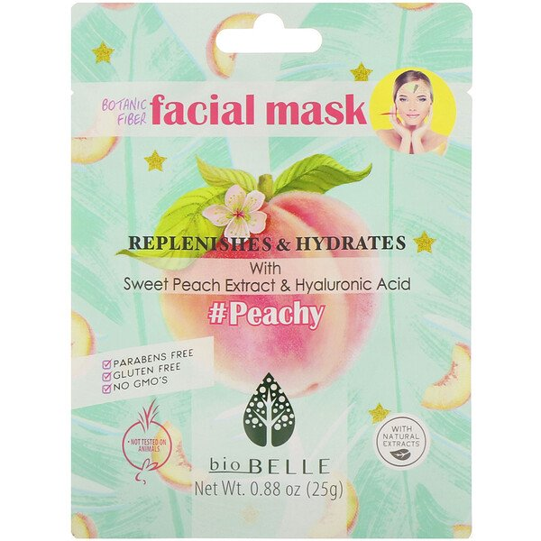 Botanic Fiber Facial Mask, Replenishes & Hydrates, #Peachy, 1 Sheet, 0.88 oz (25 g)