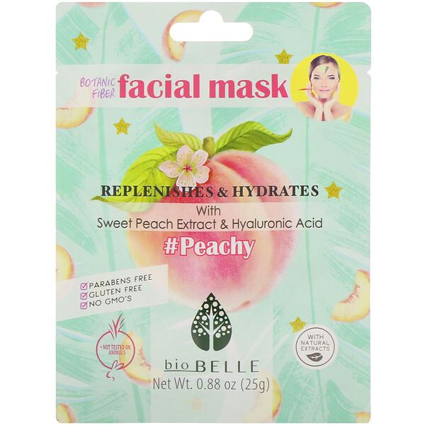 Biobelle, Mascarilla facial con fibra vegetal, Repara e hidrata, #Peachy, 1mascarilla, 25g (0,88oz)