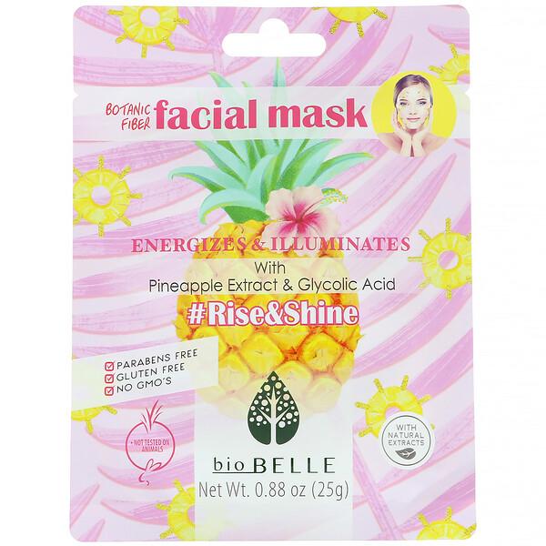 Biobelle, Mascarilla facial con fibra vegetal, Energiza e ilumina, #Rise&Shine, 1mascarilla, 25g (0,88oz)