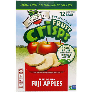 Brothers-All-Natural, フリーズドライ - フルーツクリスプ、ふじりんご、12回分個別包装、4.23オンス (120 g)