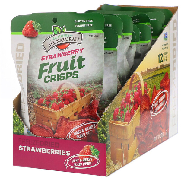 Freeze Dried - Fruit Crisps, Strawberries, 12 Single-Serve Bags, 3.17 oz (90 g)