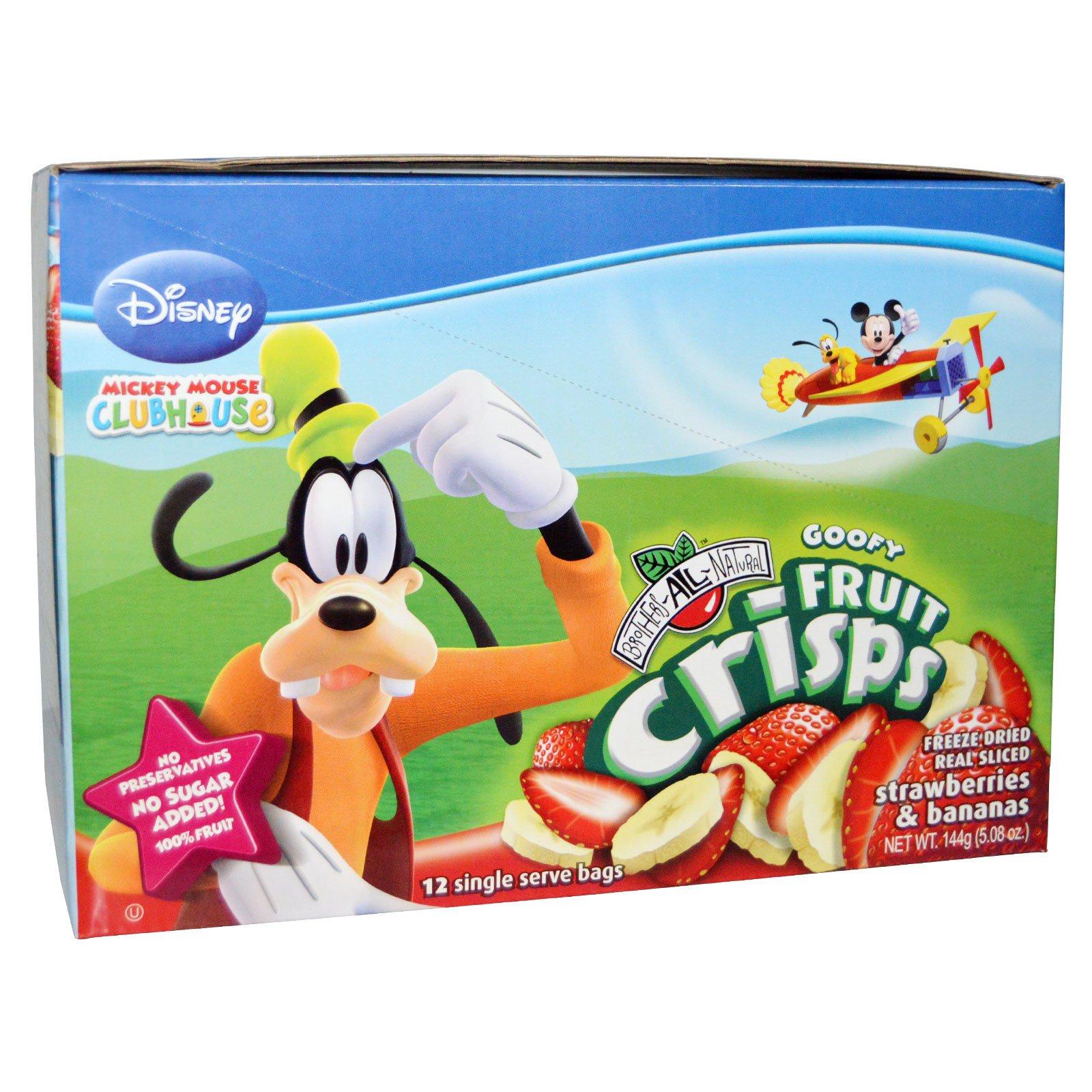 Brothers-All-Natural, Disney Goofy Fruit Crisps, Strawberries & Bananas, 12 Single Serve Bags, 5.08 oz (144 g)