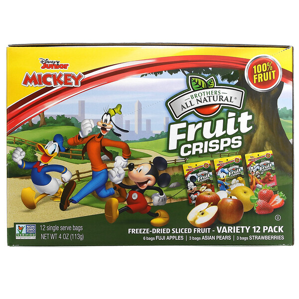 Disney Junior, Fruit Crisp, Freeze Dried Sliced Fruit, Variety Pack, 12 Pack, 4 oz (113 g)