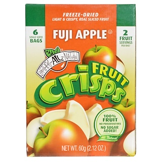 Brothers-All-Natural, Fruit Crisp, Fuji Apple, 6 Bags, 10 g Each