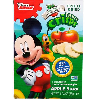Купить Brothers-All-Natural Хрустящие фрукты, Disney Junior, яблоки с корицей, 5 упаковок, 35 г (1.23 oz)