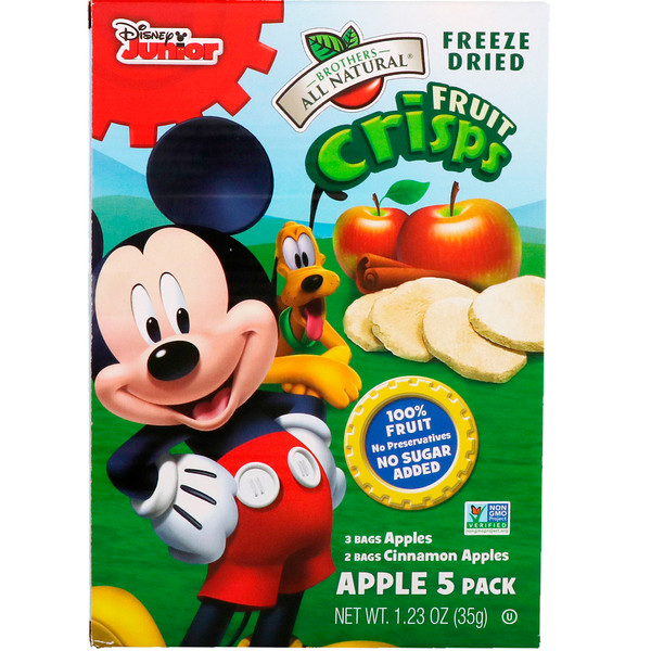 Fruit Crisps, Disney Junior, Apples and Cinnamon Apples, 5 Pack, 1.23 oz (35 g)