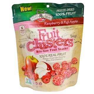 Brothers-All-Natural, Fruit Clusters, Bite-Size Fruit Snacks!, Raspberry & Fuji Apple, 1.25 oz (35 g)