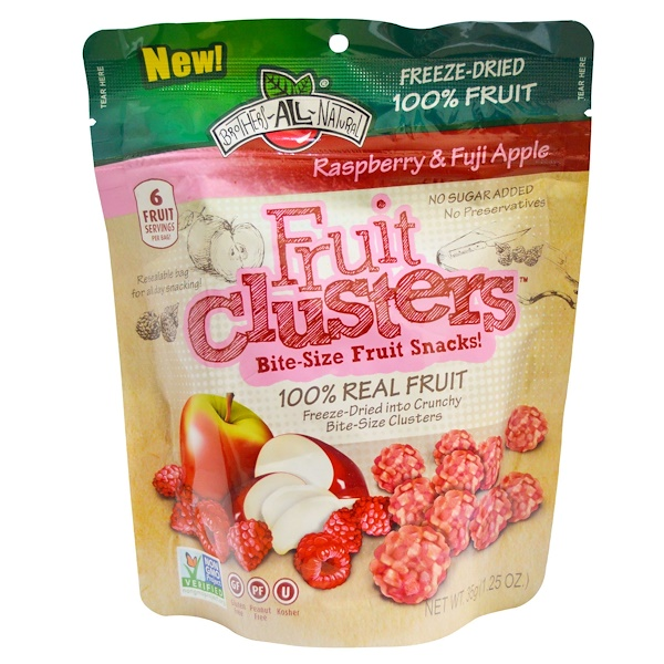 Brothers-All-Natural, Fruit Clusters, Bite-Size Fruit Snacks!, Raspberry & Fuji Apple, 1.25 oz (35 g) (Discontinued Item)