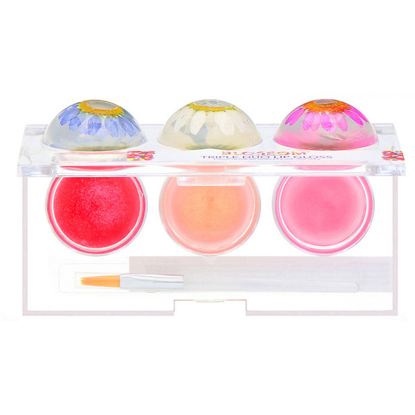 Blossom, Triple Duo Lip Gloss, Sweet Kiss Collection, 6 Flower Lip Pots, 2.8 g Each