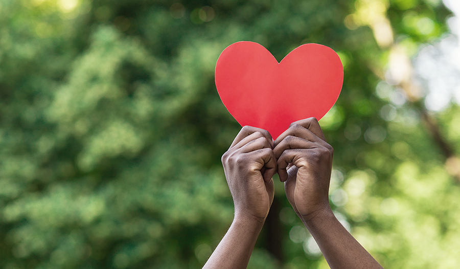 Hands holding red paper heart on green background