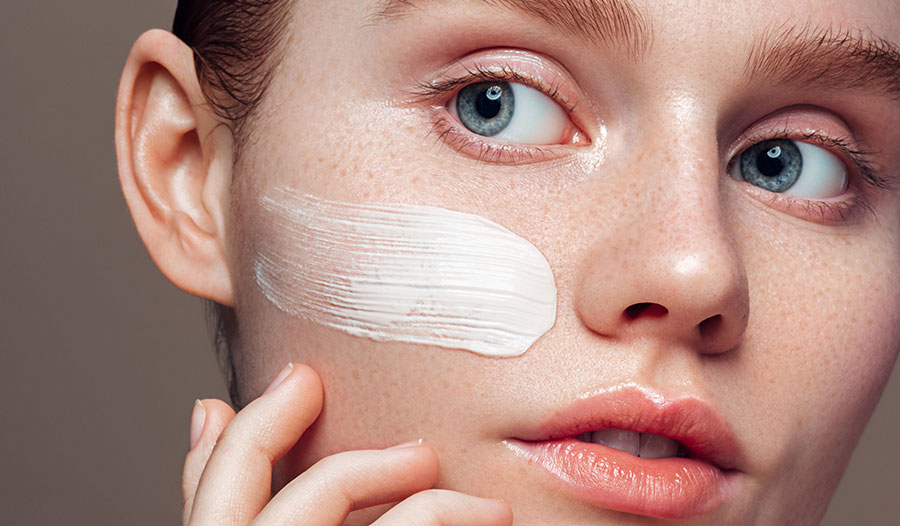 woman healing her moisture barrier with hydrating and gentle skincare