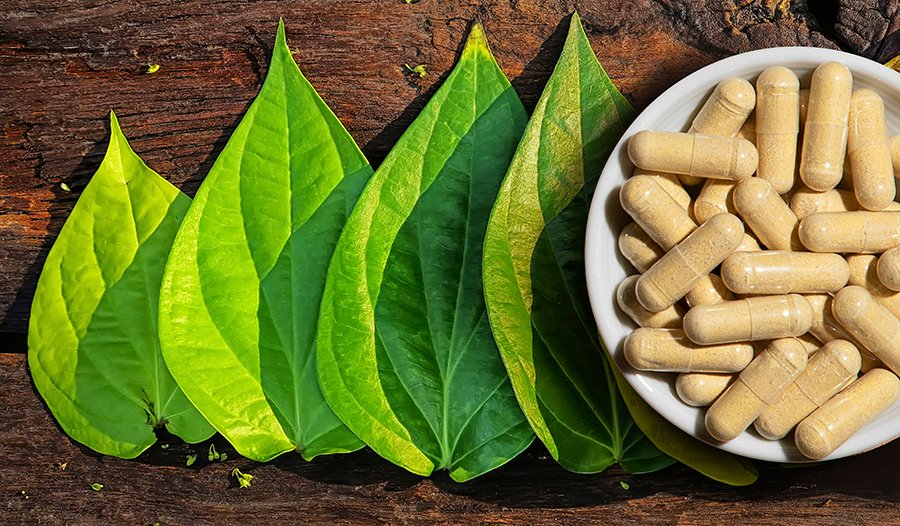 Kava kava supplement and leaves on wood table
