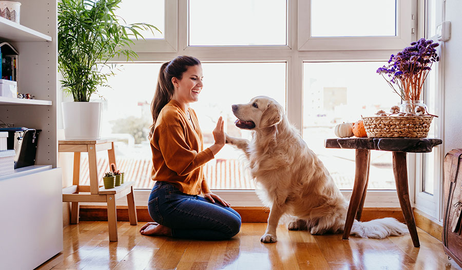 woman practicing self-care by playing with her dog