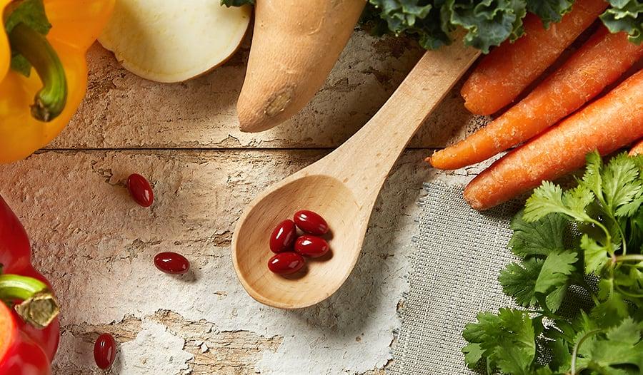 Sources of beta-carotene: leafy greens, carrots, sweet potato, supplements