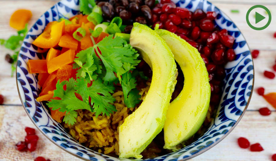 Turmeric Rice and Black Bean Bowl