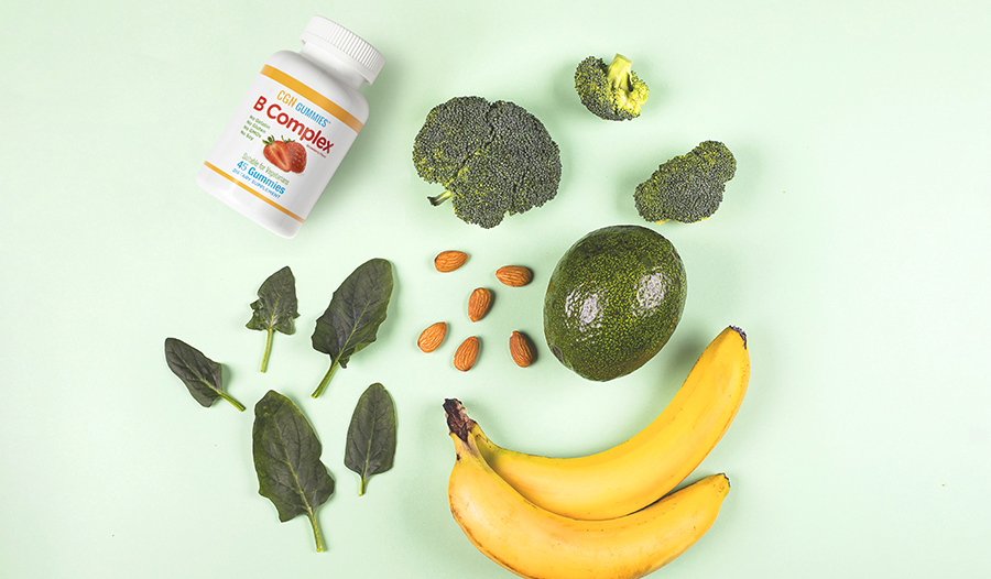 Vitamin b food sources like spinach, broccoli, banana, almonds, and supplement
