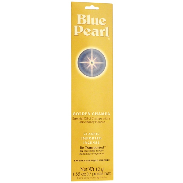 Blue Pearl, Classic Imported Incense, Golden Champa, 0.35 oz (10 g) (Discontinued Item)