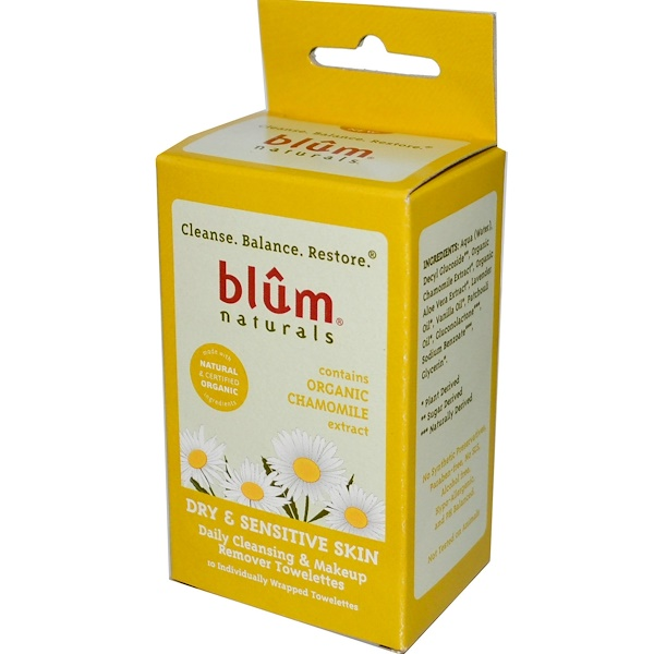 Blum Naturals, Daily Cleansing & Makeup Remover Towelettes, Dry & Sensitive Skin, Chamomile, 10 Towelettes (Discontinued Item)