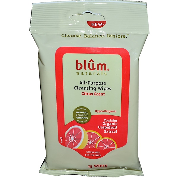 Blum Naturals, All-Purpose Skin Cleansing Wipes, Citrus Scent, 15 Wipes (Discontinued Item)