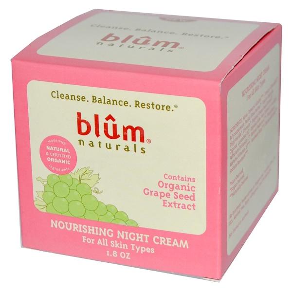 Blum Naturals, Nourishing Night Cream for All Skin Types, 1.8 oz (Discontinued Item)
