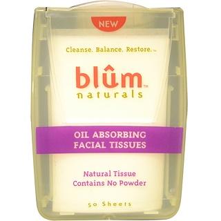 Blum Naturals, Ölaufsaugende Gesichtstücher, 50 Tücher