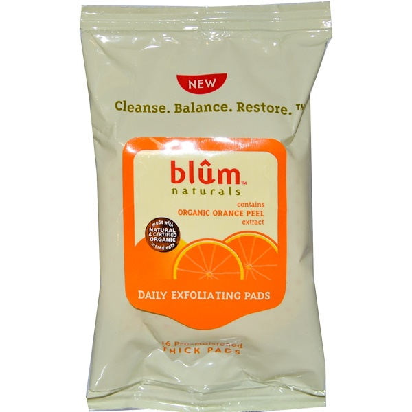 Blum Naturals, Daily Exfoliating Pads, 16 Pre-Moistened Thick Pads (Discontinued Item)