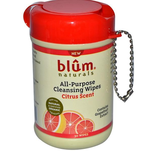 Blum Naturals, Универсальные очищающие салфетки, цитрусовый аромат, 30 салфеток (Discontinued Item)