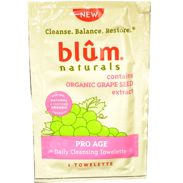 Blum Naturals, Daily Cleansing Towelette, Pro Age, 1 Towelette (Discontinued Item)