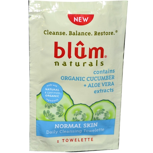 Blum Naturals, Daily Cleansing Towelette, Normal Skin, Cucumber + Aloe Vera, 1 Towelette (Discontinued Item)