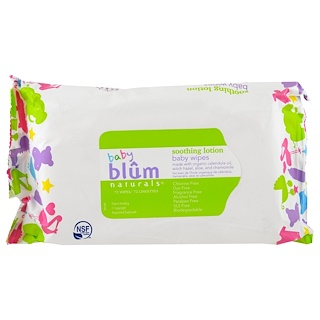 Blum Naturals, Baby, Soothing Lotion, Baby Wipes, Fragrance Free, 72 Wipes