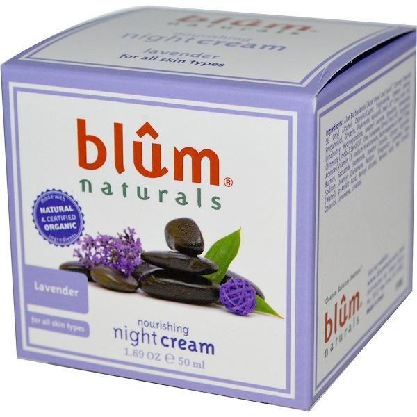 Blum Naturals, Crema nutritiva para la noche, lavanda, 1.69 oz (50 ml)