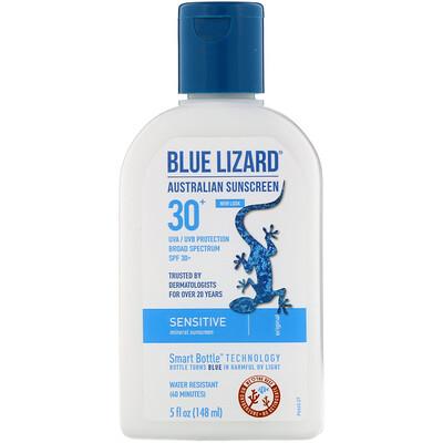 Купить Blue Lizard Australian Sunscreen Sensitive, Mineral Sunscreen, SPF 30+, 5 fl oz (148 ml)
