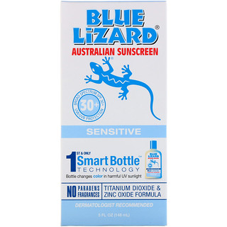 Blue Lizard Australian Sunscreen, Sensitive SPF 30+ Sunscreen, Fragrance Free, 5 fl oz (148 ml)