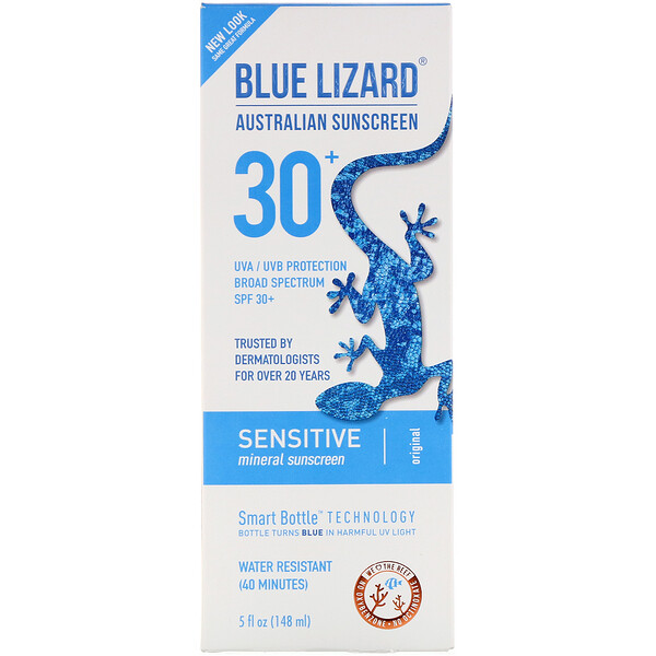 品牌從A - ZBlue Lizard Australian Sunscreen 類別沐浴露及個人護理個人護理防曬Sunscreens, Body:Blue Lizard Australian Sunscreen, Sensitive, Mineral Sunscreen, SPF 30+, 5 fl oz (148 ml)