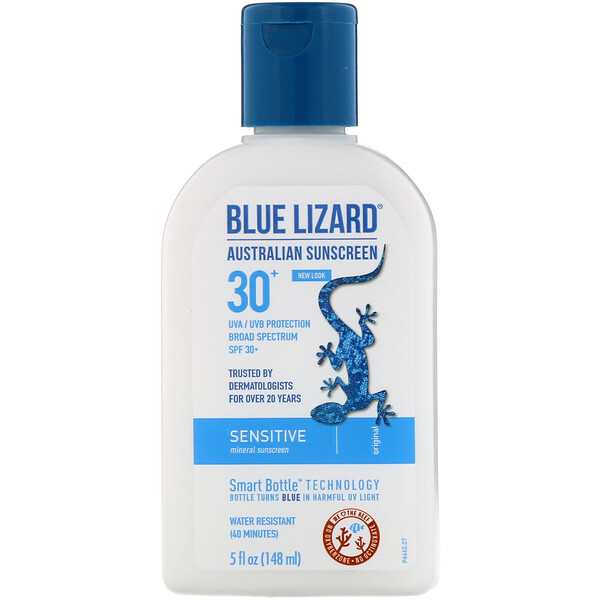 Blue Lizard Australian Sunscreen, Sensitive, Mineral Sunscreen, SPF 30+, 5 fl oz (148 ml)