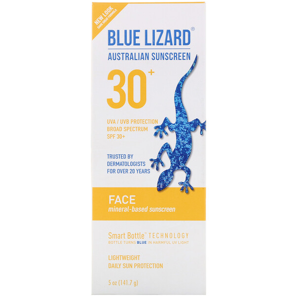 Blue Lizard Australian Sunscreen, Face, Mineral-Based Sunscreen, SPF 30+, 5 oz (141.7 g)