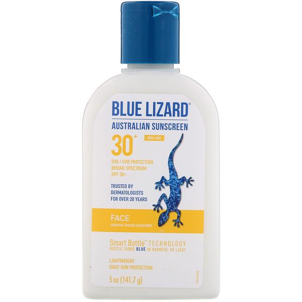 Blue Lizard Australian Sunscreen, 面部,矿物质基抗晒霜,SPF 30+,5 盎司(141.7 克)