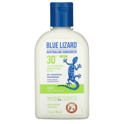 Blue Lizard Australian Sunscreen Kids, Mineral-Based Sunscreen, SPF 30+, 5 fl oz (148 ml)