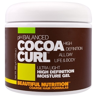 Beautiful Nutrition, pH Balanced Cocoa Curl, Ultra Light, High Definition Moisture Gel, 13.9 oz (395 g)