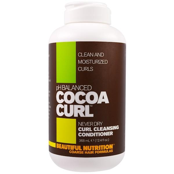 Beautiful Nutrition, 酸鹼平衡可可捲曲,捲髮清潔護髮,12、4液體盎司(368毫升)