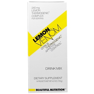 Beautiful Nutrition, Lemon Venom, Citrus Thermogenic, Drink Mix, 14 Packets, 4.2 oz (118 g)