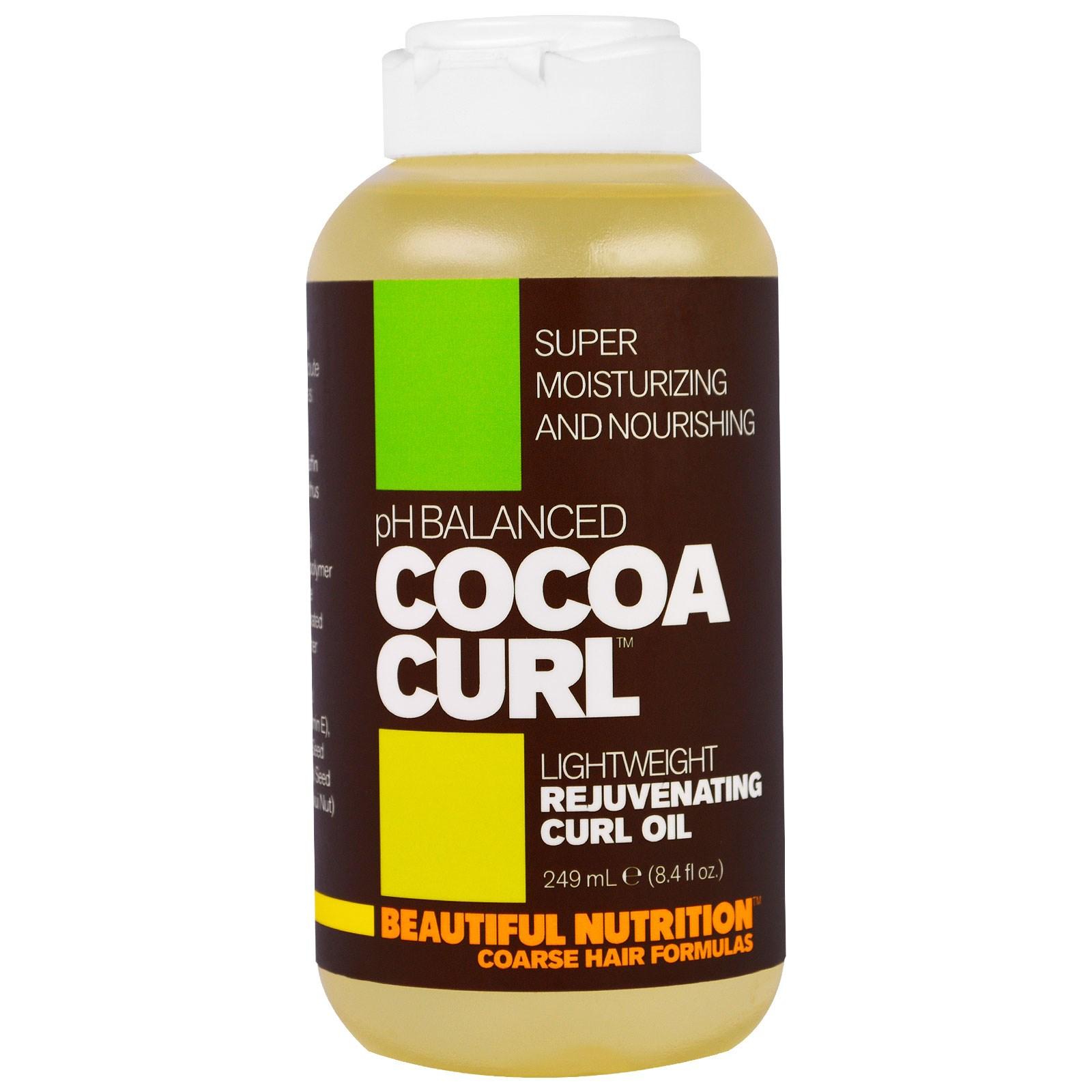 """Beautiful Nutrition, """"Какао-завитки"""", легкое омолаживающее масло для вьющихся волос, 8,4 жидкой унции (249 мл)"""