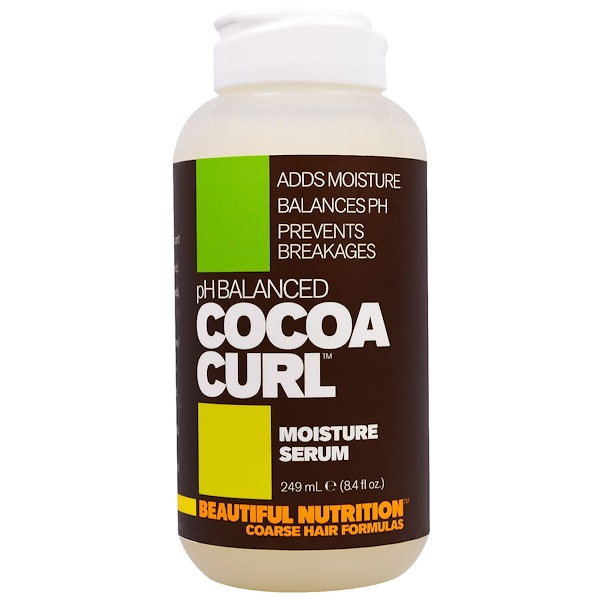 Beautiful Nutrition, pH平衡可可捲曲,保濕精華,8、4液體盎司(249毫升)