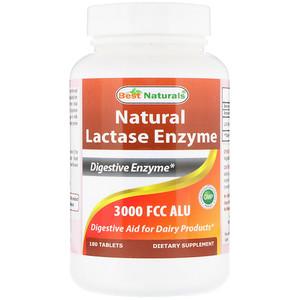 Best Naturals, Natural Lactase Enzyme, 3000 FCC ALU, 180 Tablets отзывы