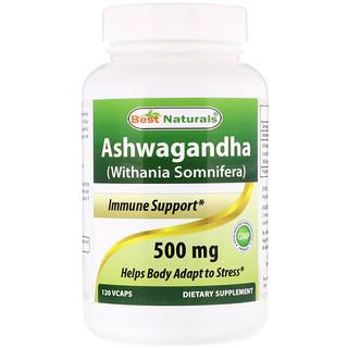 Best Naturals, Ashwagandha (Withania Somnifera), 500 mg, 120 VCaps