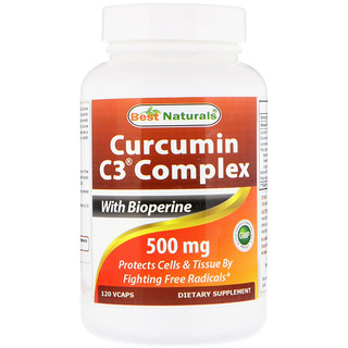 Best Naturals, Curcumin C3 Complex with Bioperine, 500 mg, 120 VCaps
