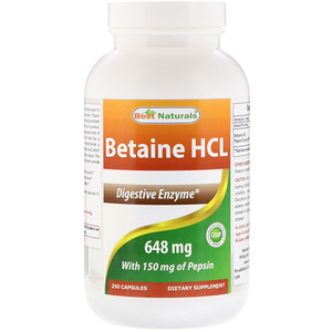 Best Naturals, Betaine HCL, 648 mg , 250 Capsules отзывы