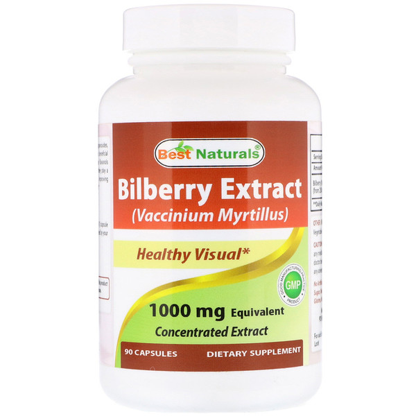 Best Naturals, Bilberry Extract (Vaccinium Myrtillus), 1000 mg, 90 Capsules
