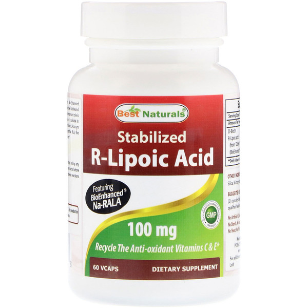 Best Naturals, Stabilized R-Lipoic Acid, 100 mg , 60 VCaps (Discontinued Item)